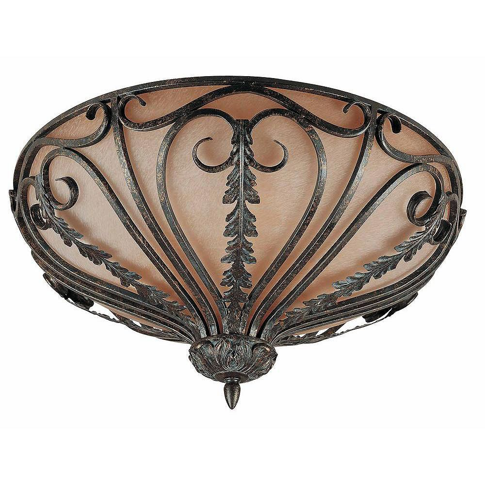Illumine 6 Light Flush Mount Bronze Finish Cognac Antiqued Scavo Glass