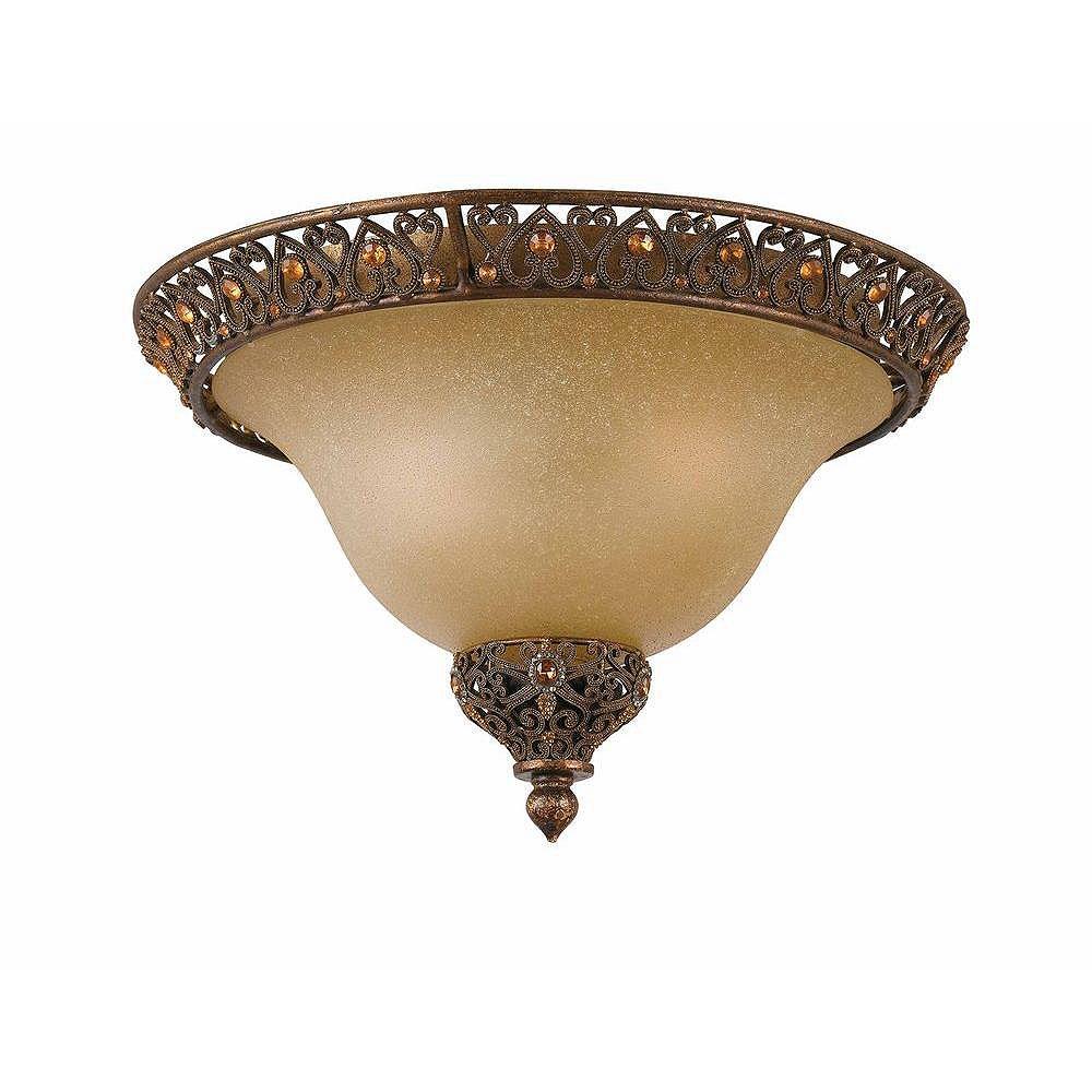 Illumine 2 Light Flush Mount Gold Finish Cognac Tinted Scavo Glass