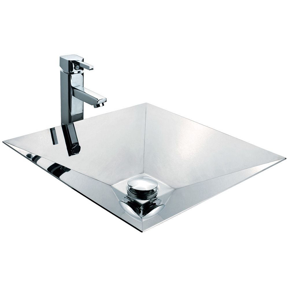 Vodasinks Mirror Polished Pyramid-Shaped Basin