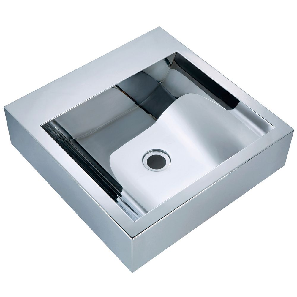 Vodasinks Square Mirror Polished Basin with Concave Bowl