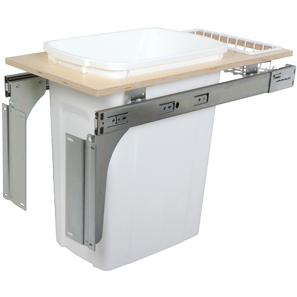 Knape & Vogt Single 35 Quart Bin White Top-Mount Waste and Recycling Unit - 11.5 Inches Wide - Lid is not Included