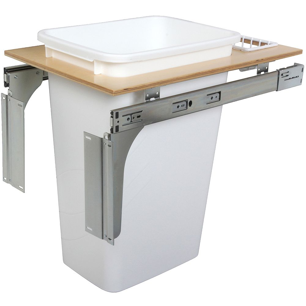 Knape & Vogt Single 50 Quart Bin White Top-Mount Waste and Recycling Unit - 14.5 Inches Wide - Lid is not Included