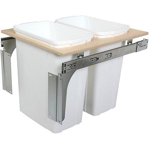 Unité à déchets et à recyclage à deux contenants de 33 litres à installation par le dessus blanc - 17,5 pouces de largeur - Couvercle non inclus