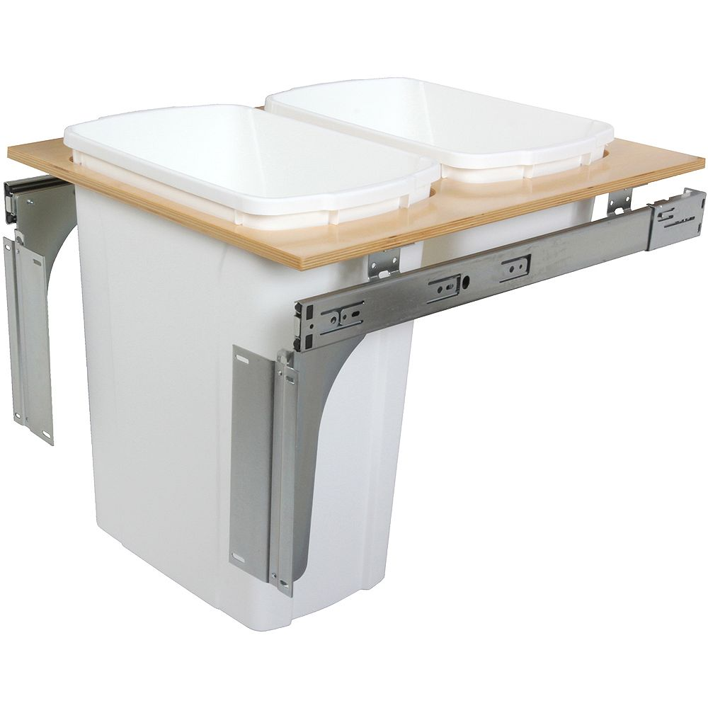 Knape & Vogt Double 35 Quart Bin White Top-Mount Waste and Recycling Unit - 18 Inches Wide - Lid is not Included