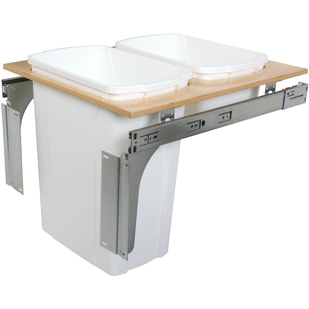 Knape & Vogt Unité à déchets et à recyclage à deux contenants de 33 litres à installation par le dessus blanc - 18 pouces de largeur - Couvercle non inclus