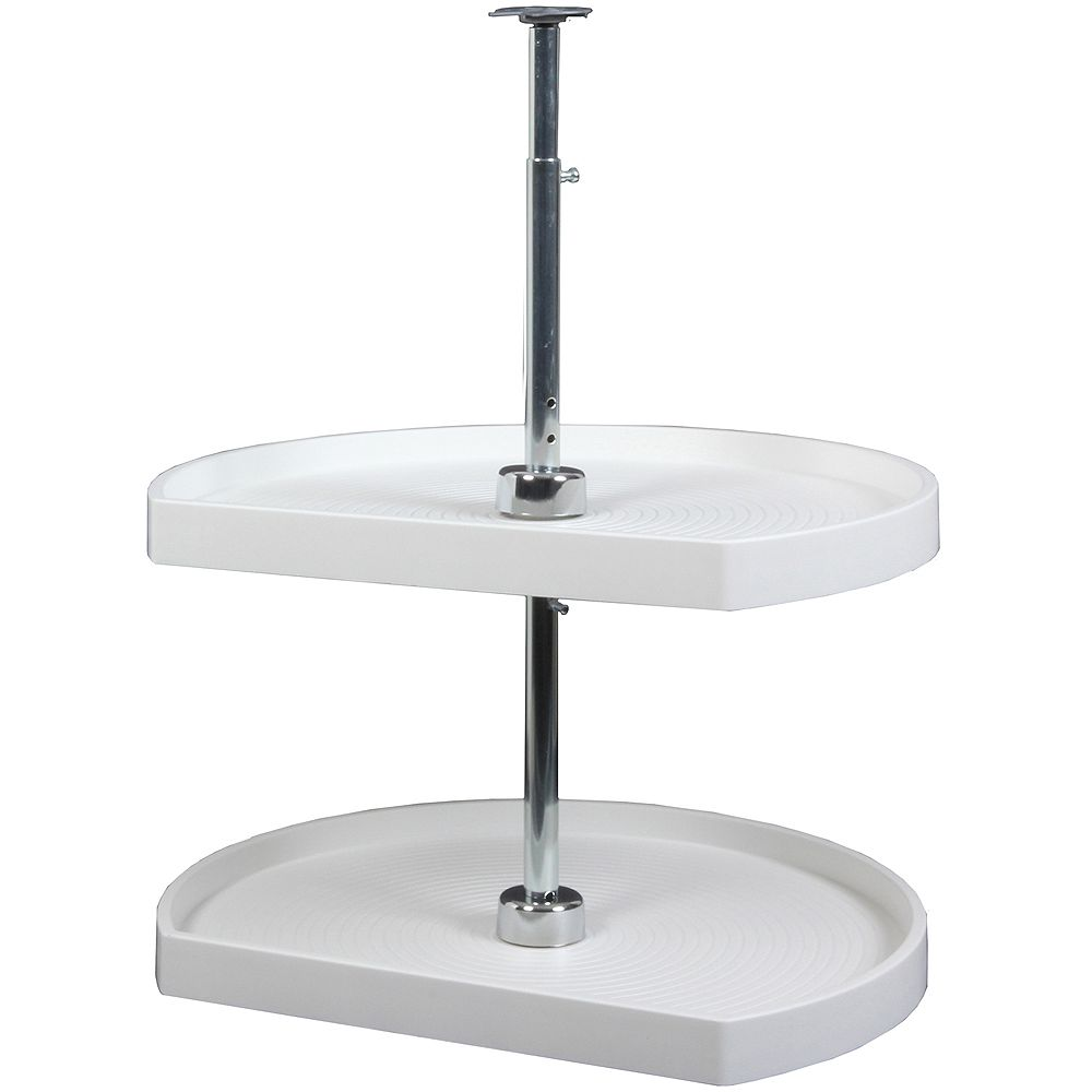 Knape & Vogt D-Shaped 2 Shelf Poly Lazy Susan - 22 Inches Diameter