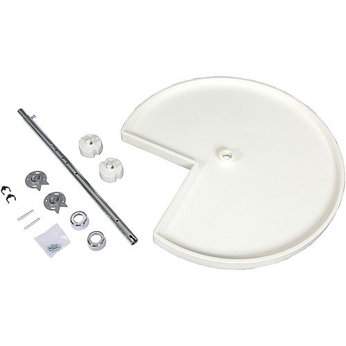 Kidney Shaped 10 Shelf Poly Lazy Susan With 5 Hardware Sets - 24 Inches Diameter
