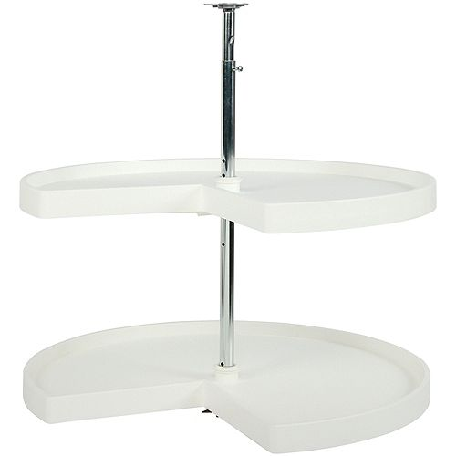 Kidney Shaped 2 Shelf Poly Lazy Susan - 28 Inches Diameter