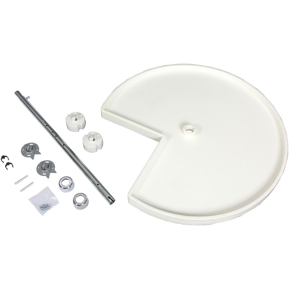 Knape & Vogt Kidney Shaped 10 Shelf Poly Lazy Susan With 5 Hardware Sets - 32 Inches Diameter