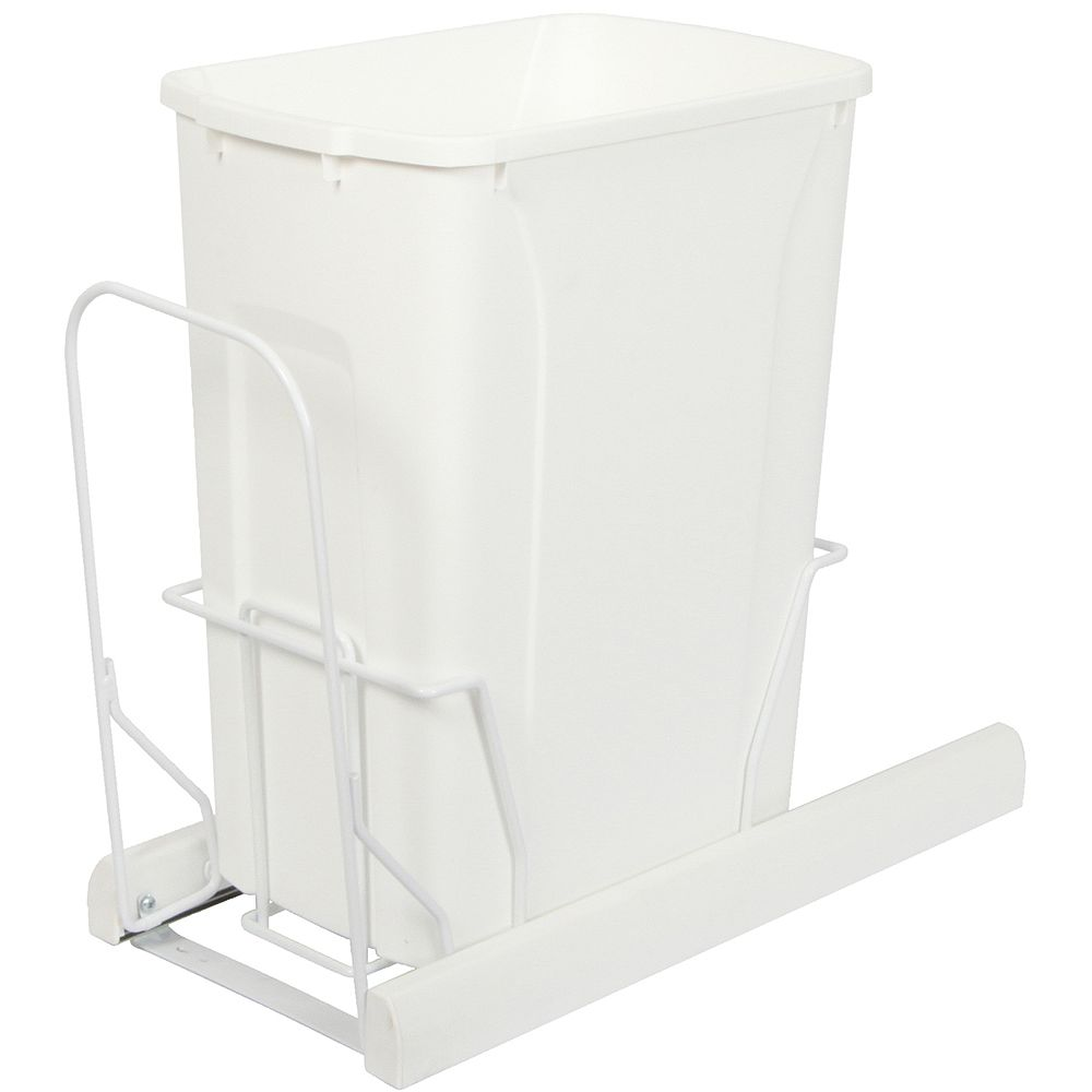 Knape & Vogt Single 35 Quart Bin White Soft-Close Waste and Recycling Unit - Lid is not Included