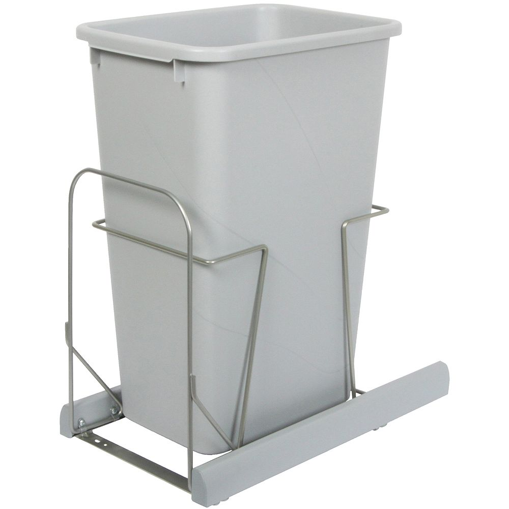 Knape & Vogt Single 50 Quart Bin Platinum Soft-Close Waste and Recycling Unit - Lid is not Included