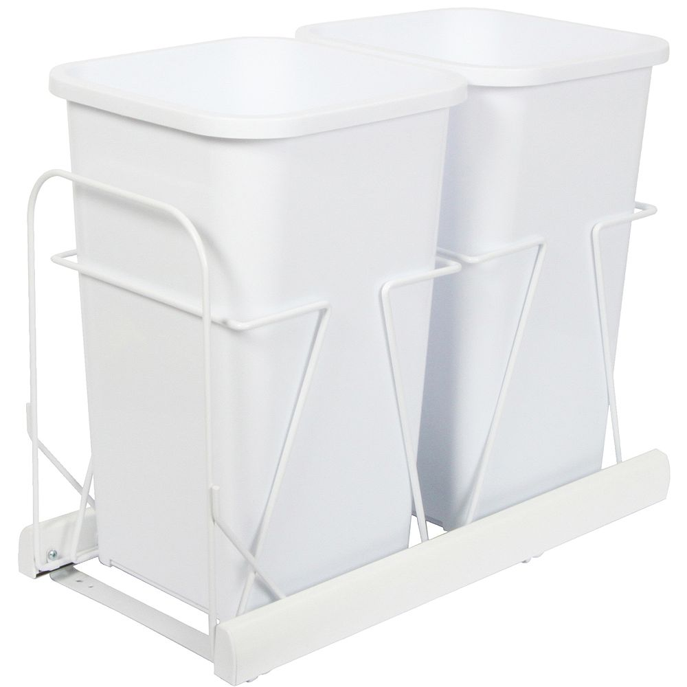 Knape & Vogt Double 27 Quart Bin White Soft-Close Waste and Recycling Unit