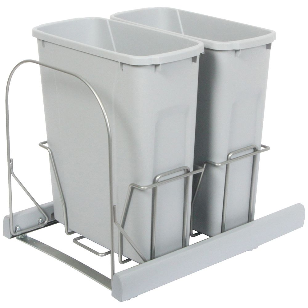Knape & Vogt Double 20 Quart Bin Platinum Soft-Close Waste and Recycling Unit - Lid is not Included
