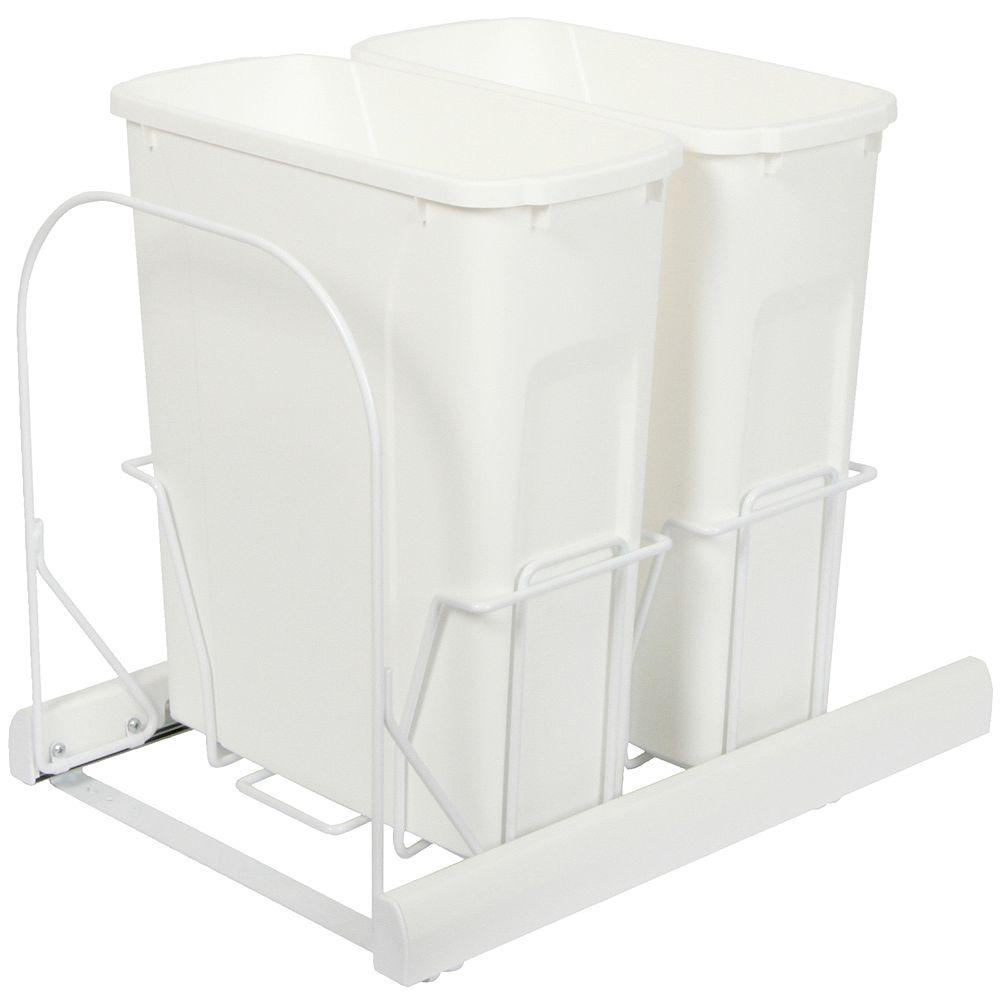Knape & Vogt Double 20 Quart Bin White Soft-Close Waste and Recycling Unit - Lid is not Included