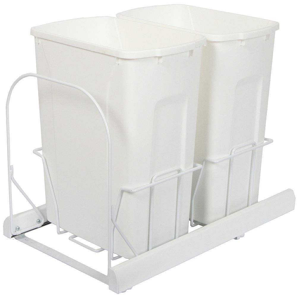 Knape & Vogt Double 35 Quart Bin White Soft-Close Waste and Recycling Unit - Lid is not Included