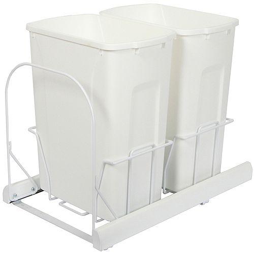 Unité à déchets et à recyclage à deux contenants de 33 litres à fermeture douce blanc - Couvercle non inclus