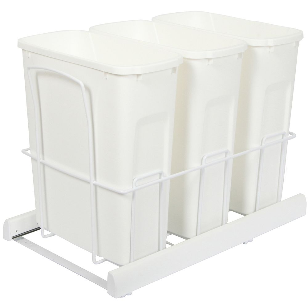 Knape & Vogt Triple 20 Quart Bin White Soft-Close Waste and Recycling Unit - Lid is not Included
