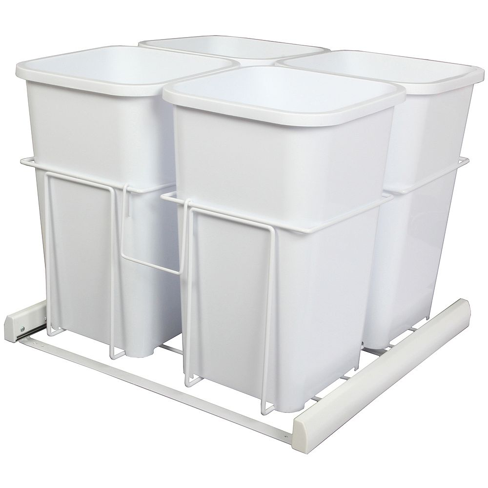 Knape & Vogt Quadruple 27 Quart Bin White Soft-Close Waste and Recycling Unit - Lid is not Included