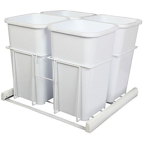 Knape & Vogt Quadruple 27 Quart Bin White Soft-Close Waste and Recycling Unit - Lid is not Included