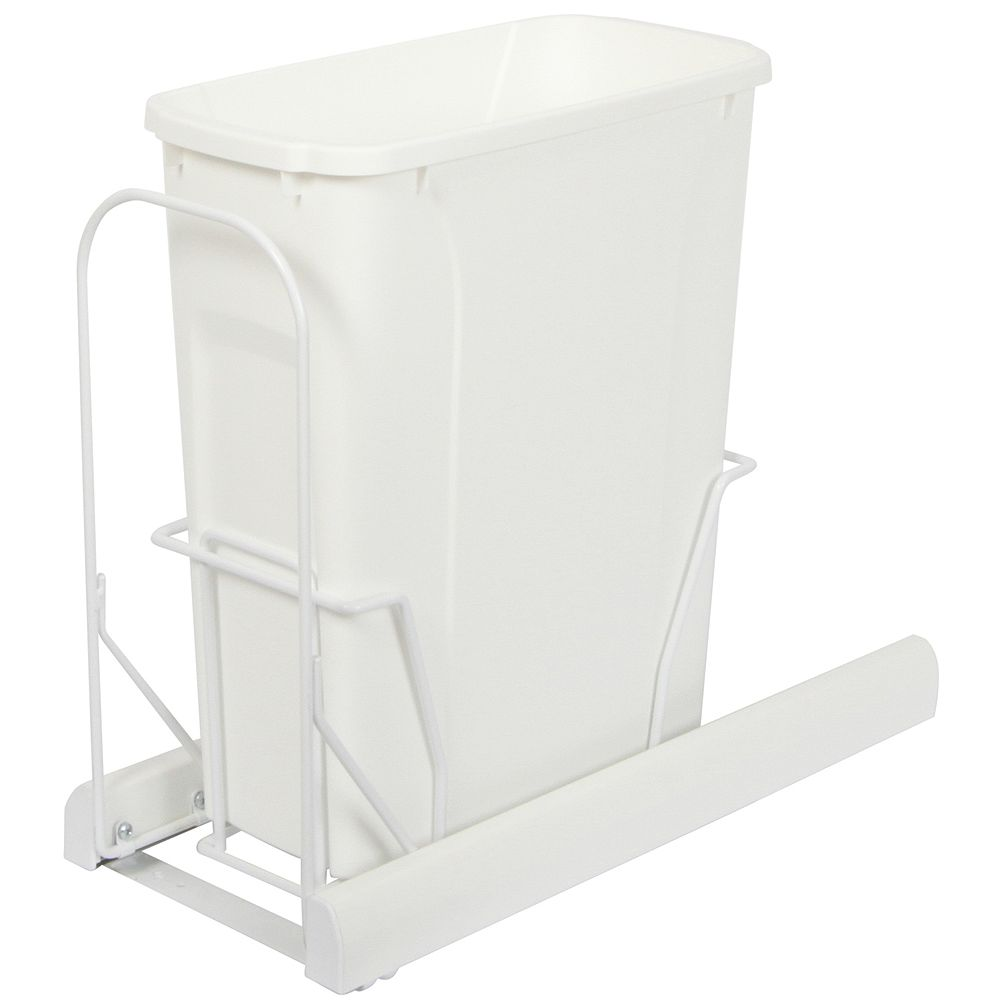Knape & Vogt Single 20 Quart Bin White Soft-Close Waste and Recycling Unit - Lid is not Included