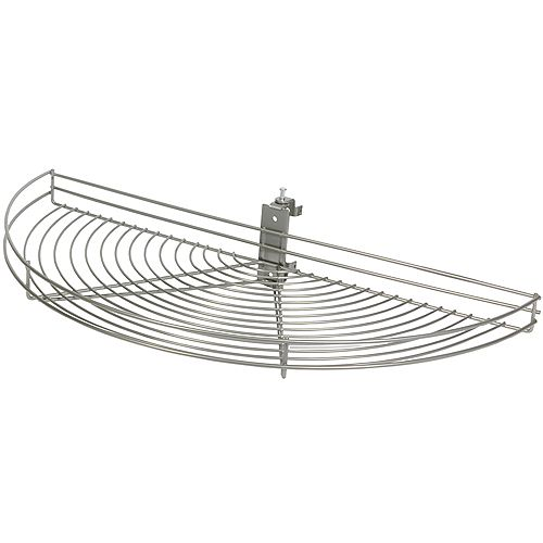Pivot-Out Half Moon Frosted Nickel Wire Lazy Susan - 24.5 Inches Diameter