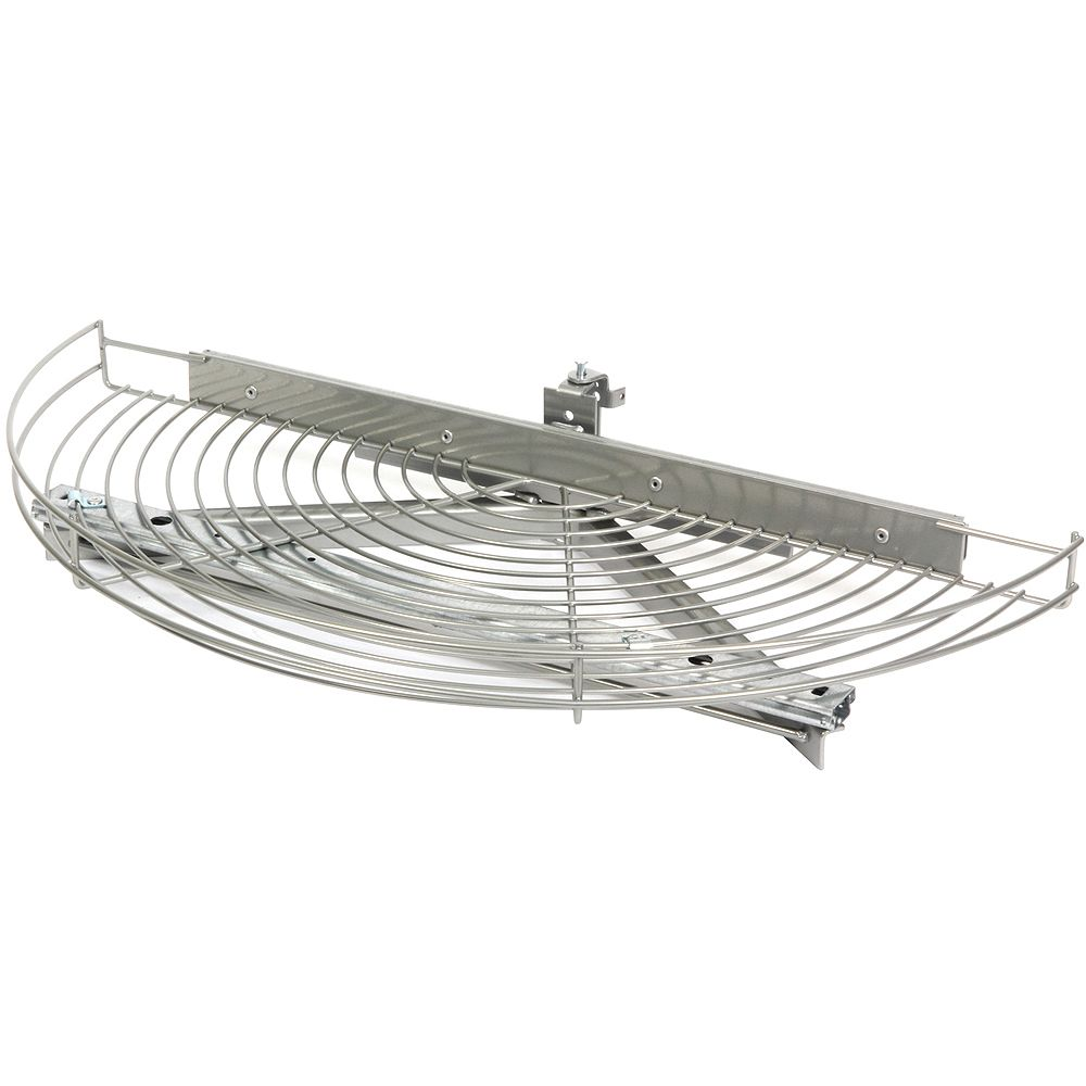 Knape & Vogt Glide-Out Half Moon Frosted Nickel Wire Lazy Susan - 24.5 Inches Diameter