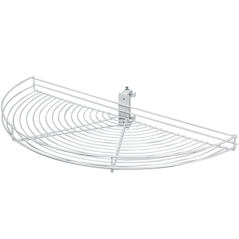 Knape & Vogt Pivot-Out Half Moon White Wire Lazy Susan - 24.5 Inches Diameter