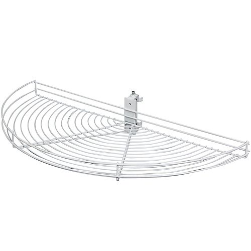 Pivot-Out Half Moon White Wire Lazy Susan - 24.5 Inches Diameter