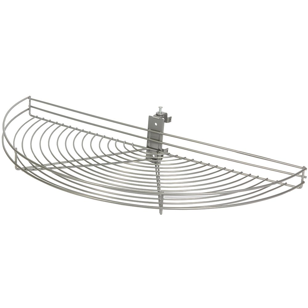 Knape & Vogt Pivot-Out Half Moon Frosted Nickel Wire Lazy Susan - 27.5 Inches Diameter