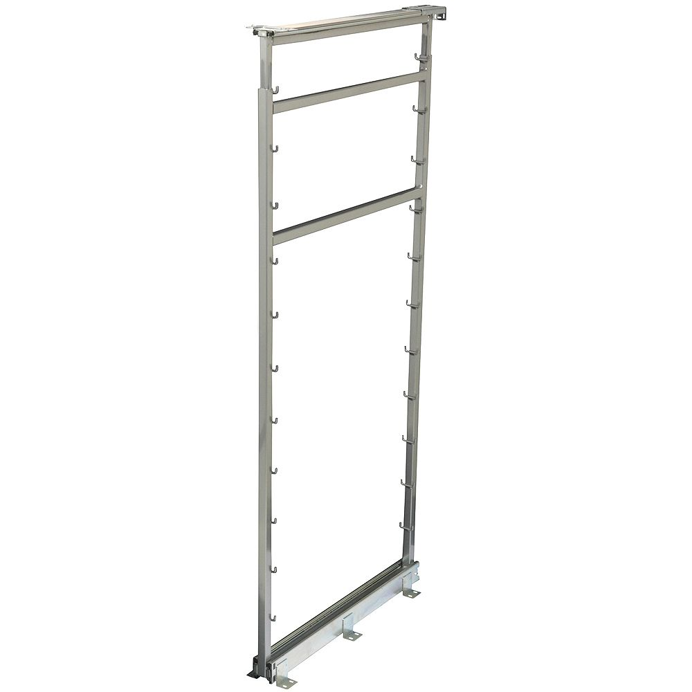 Knape & Vogt Side Mount Frosted Nickel Pantry Frame - 42.5 Inches to 49.375 Inches Tall