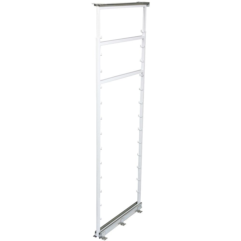 Knape & Vogt Side Mount White Pantry Frame -  54.5 Inches to 61.375 Inches Tall