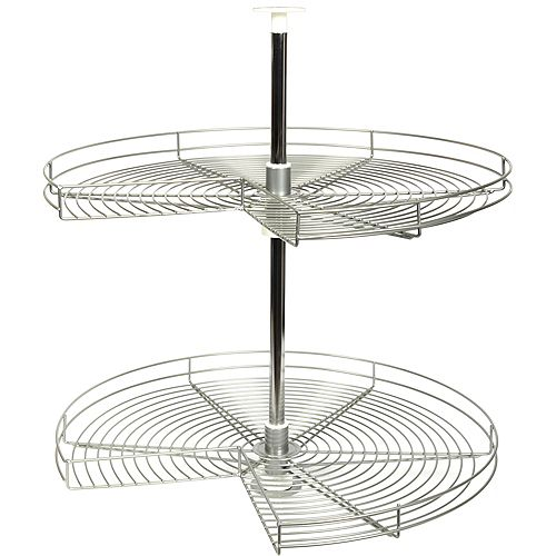 Kidney-Shaped Frosted Nickel Wire Lazy Susan - 28 Inches Diameter