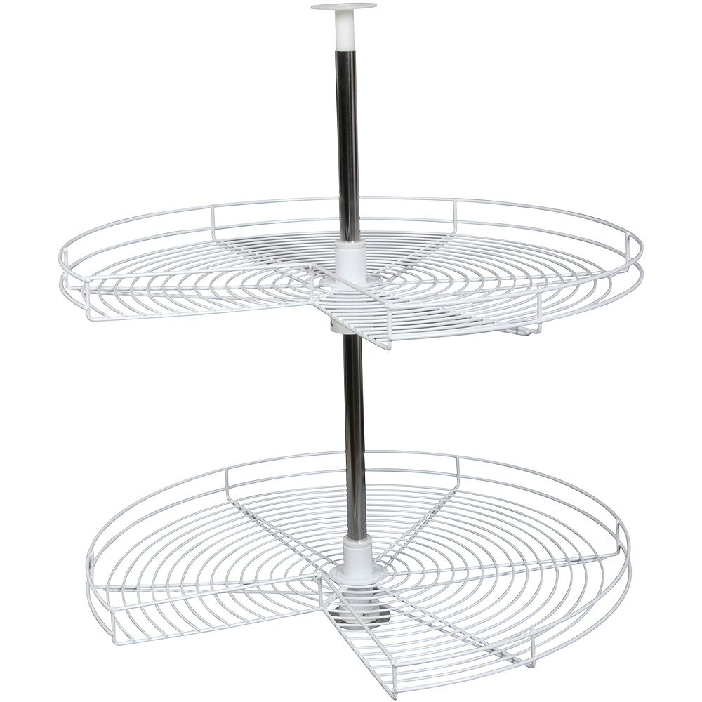 Knape & Vogt Kidney-Shaped White Wire Lazy Susan - 28 Inches Diameter