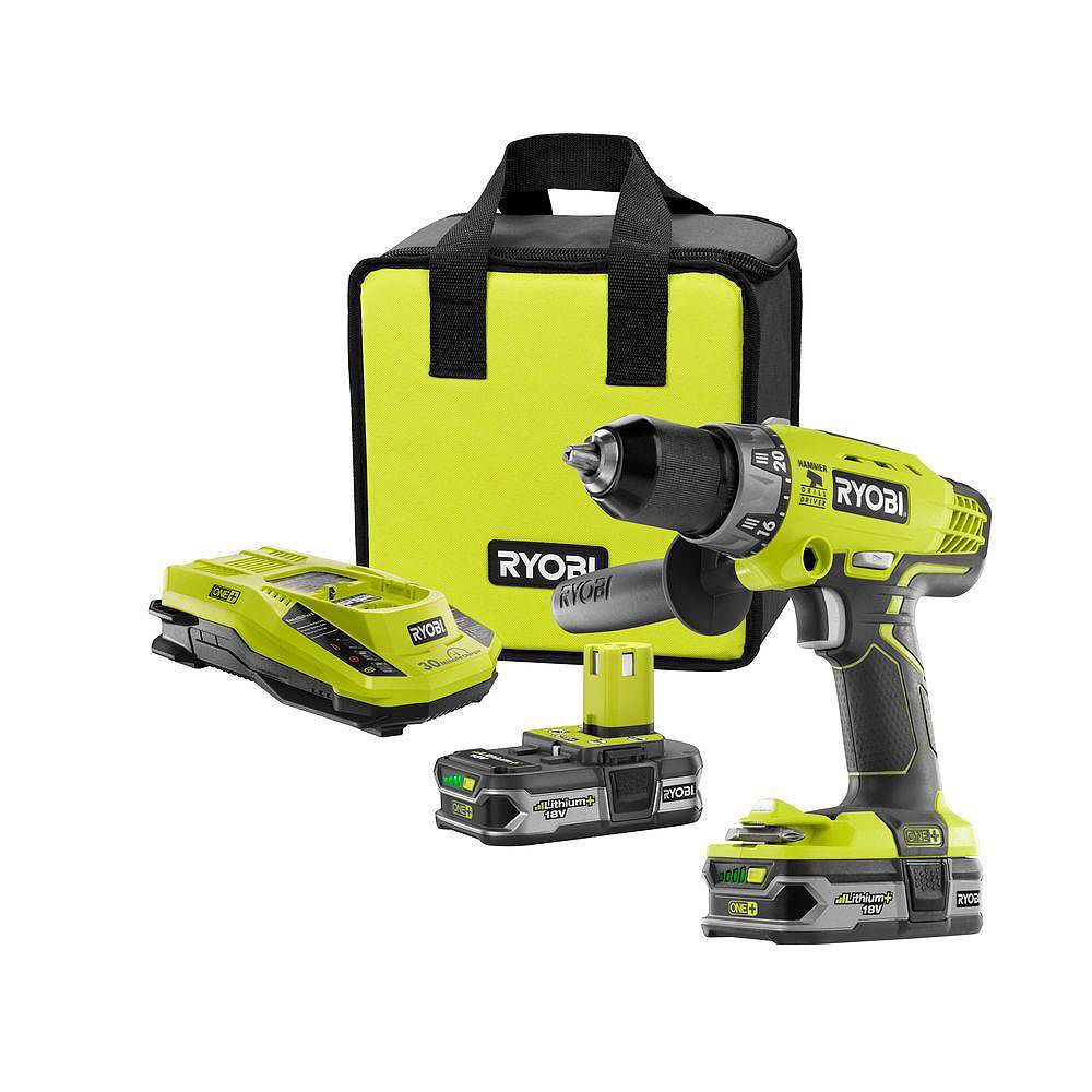 RYOBI 18V ONE+ Lithium-Ion Cordless Hammer Drill/Driver with (2) 1.5 Ah Batteries