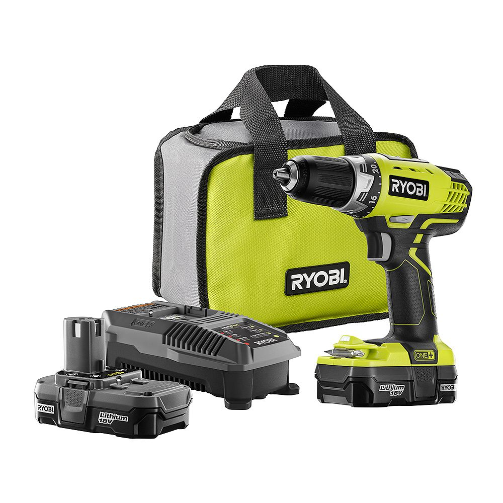 RYOBI 18V ONE+ Lithium-Ion Cordless 1/2-inch Compact Drill/Driver Kit