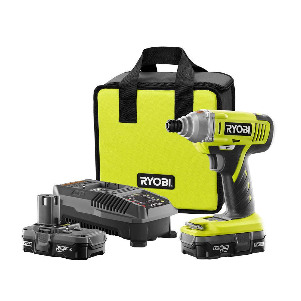 RYOBI 18V ONE+ Lithium-Ion Cordless Impact Driver Kit with Batteries, Charger and Case
