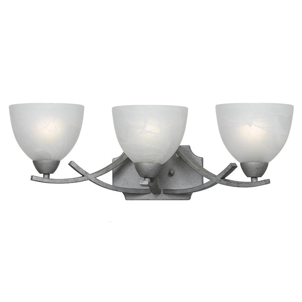 Illumine 3 Light Bath Vanity Silver Finish White Swirl Alabaster Glass Shades