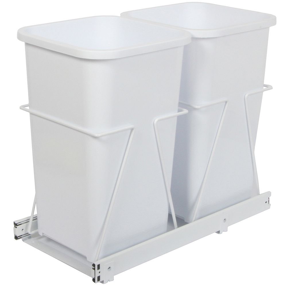 Knape & Vogt Double 27 Quart Bin Waste and Recycling Unit - Lid is not Included