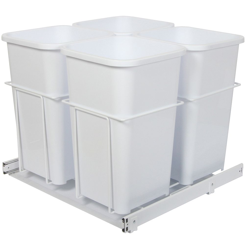 Knape & Vogt Quadruple 27 Quart Bin Waste and Recycling Unit - Lid is not Included