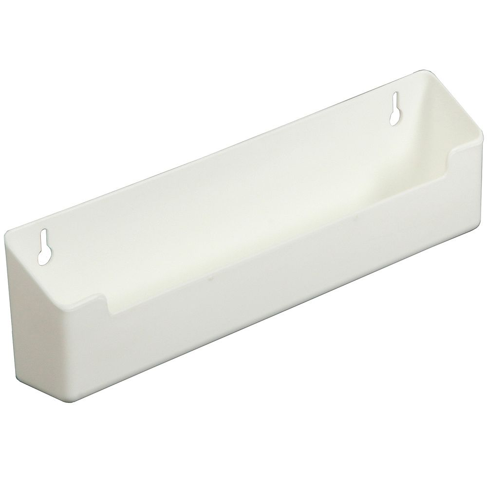 Knape & Vogt Polymer White Sink Front Tray with Shallow Depth - 14 Inches Wide