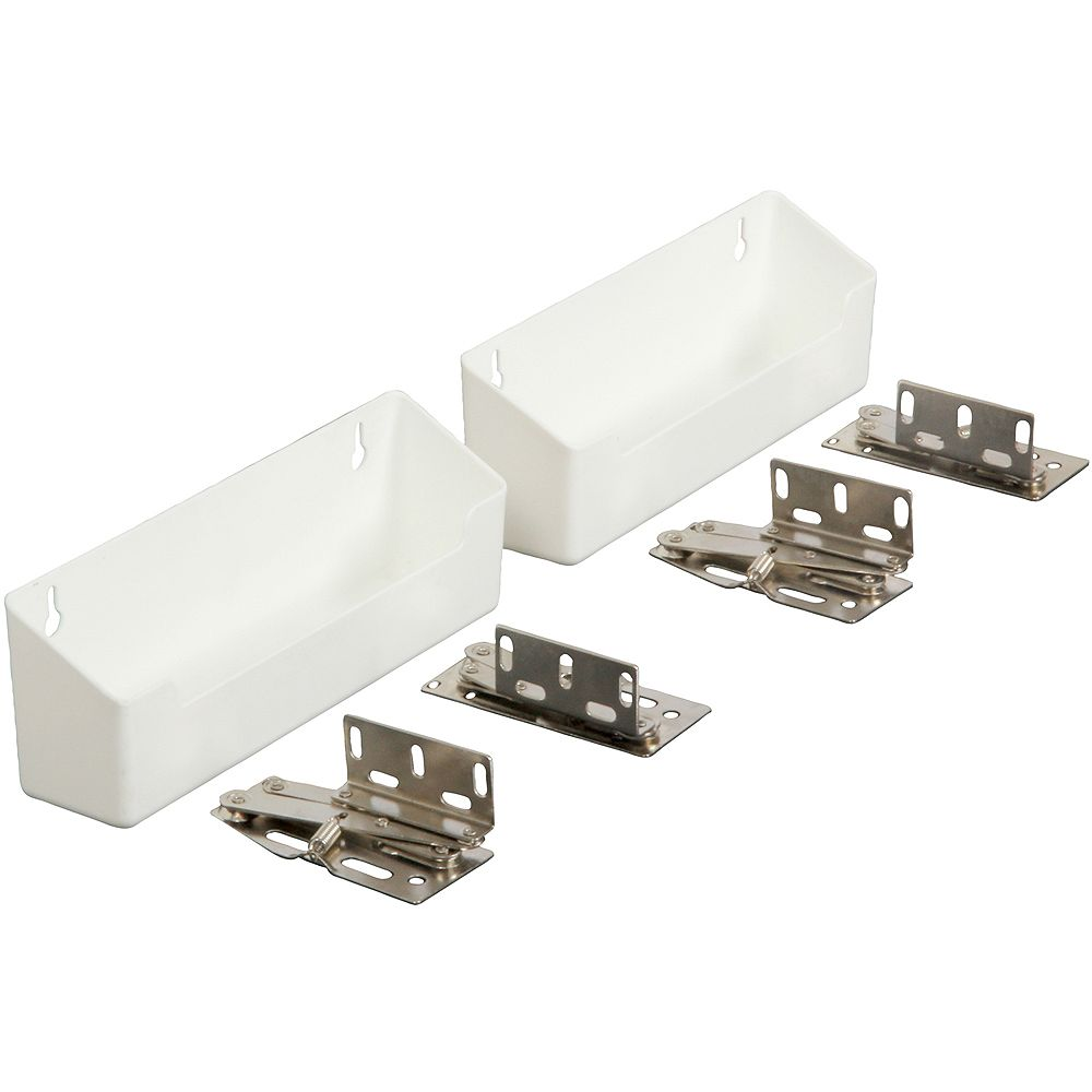 Knape & Vogt Polymer White Sink Front Tray with Shallow Depth & Hinges - 8.625 Inches Wide