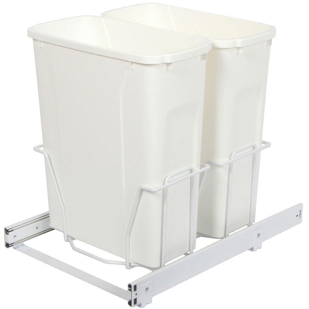 Knape & Vogt Double 20 Quart Bin Waste and Recycling Unit - Lid is not Included