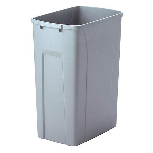 18-inch H x 14-inch W x 9-inch D Plastic 33.1 L Replacement Pull Out Trash Can in Grey