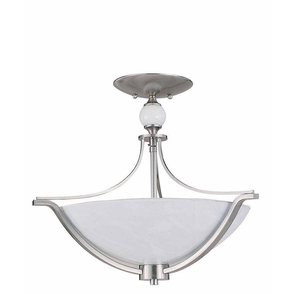 Illumine 3 Light Semi Flush Mount Brushed Steel Finish White Art Glass