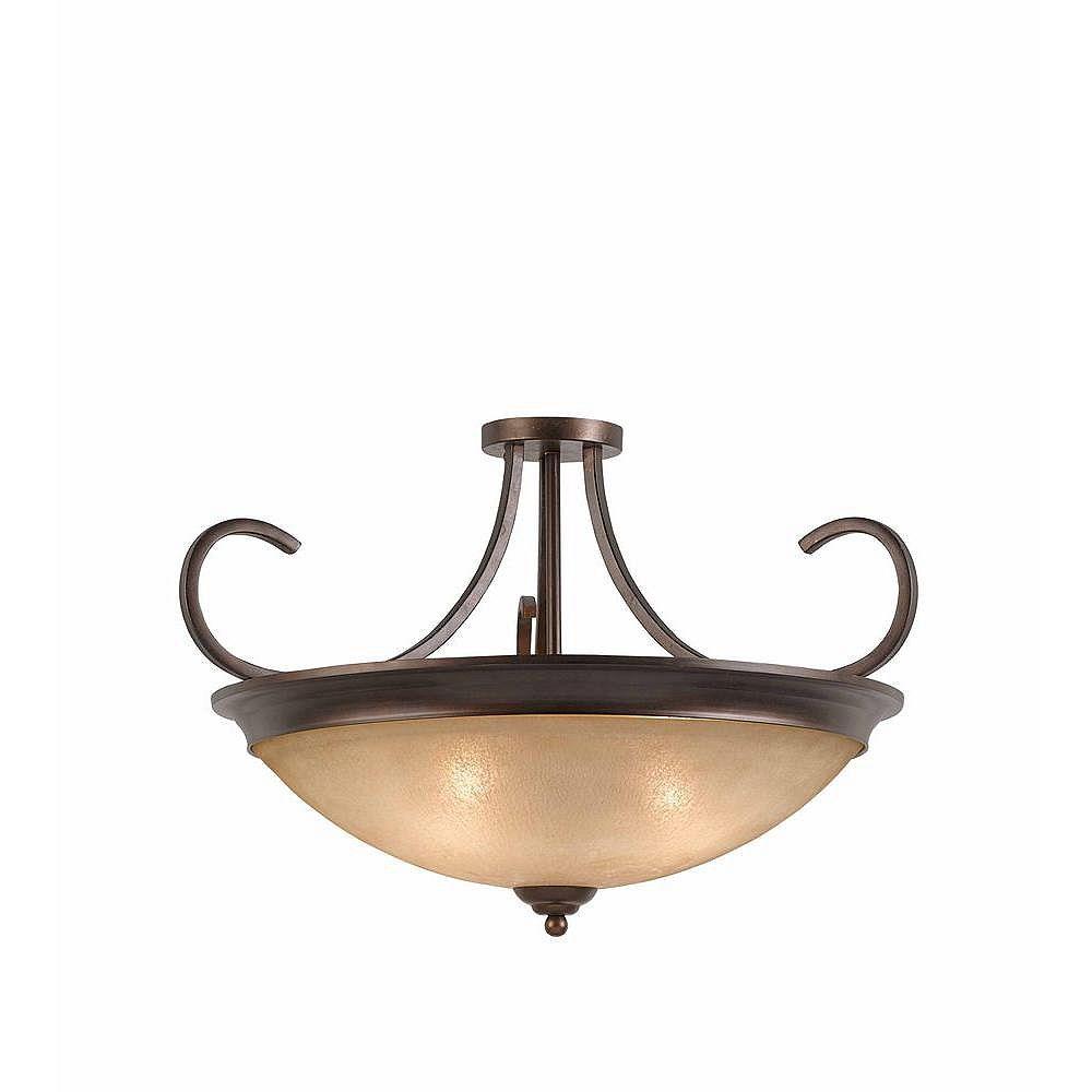 Illumine 4 Light Semi Flush Mount Bronze Finish Scavo Rainbow Glass