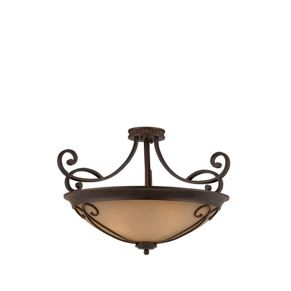 Illumine 4 Light Semi Flush Mount Bronze Finish Antiqued Scavo Glass