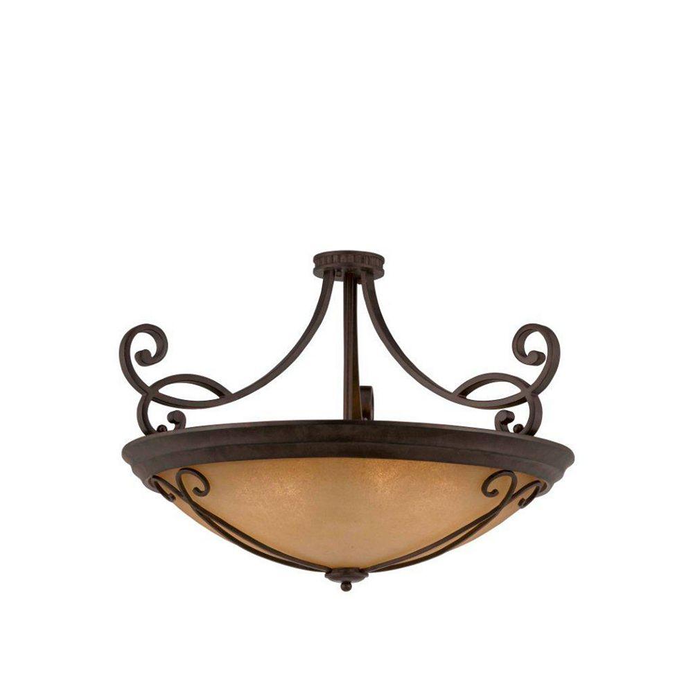 Illumine 10 Light Semi Flush Mount Bronze Finish Antiqued Scavo Glass