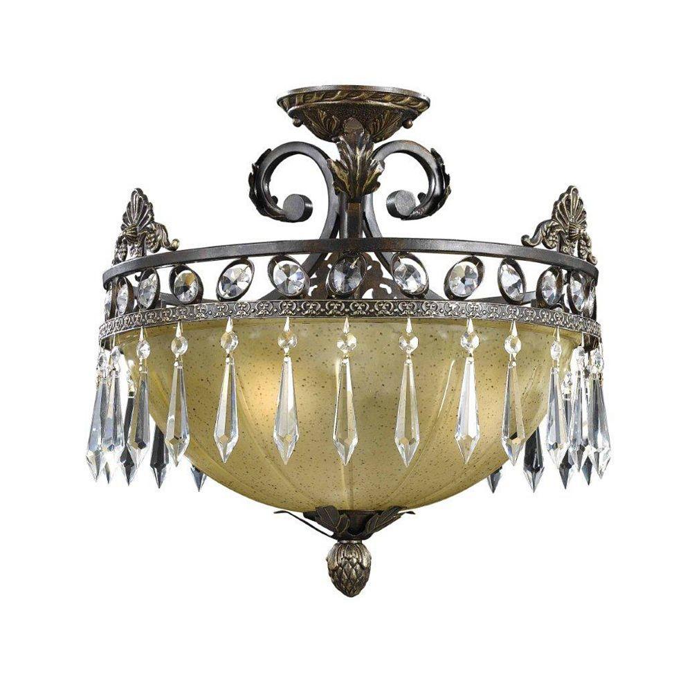 Illumine 3 Light Semi Flush Mount Bronze Finish Opulent Glass Shades