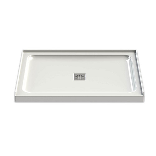 48 Inch x 32 Inch Olympia Shower Base with Square Drain in White