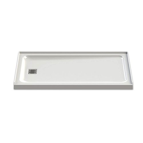 MAAX Olympia 60L x 32W x 3H Rectangular Left-Drain Shower Base in White
